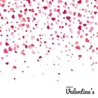 Colorful confetti paper heart shaped   isolated from white background.