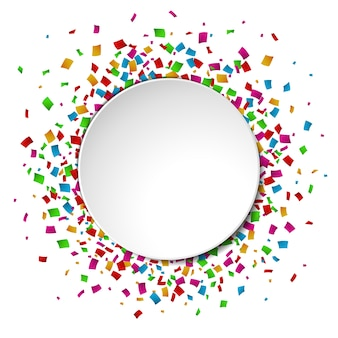 Colorful Confetti round banner with place for text