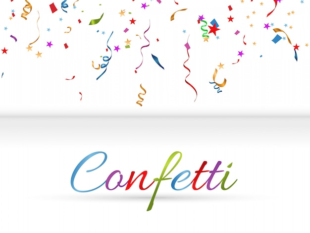 Colorful confetti scattered. birthday festive background. holiday.  illustration.