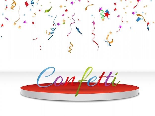 Разноцветные конфетти разбросаны. день рождения праздничный фон. праздничный день. иллюстрации.