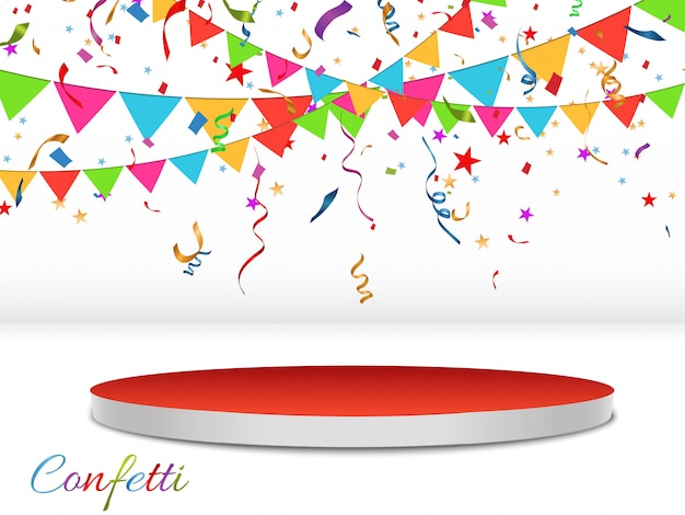 Разноцветные конфетти разбросаны. конфетти падает на подиум со световым эффектом. день рождения праздничный фон. праздничный день. иллюстрация