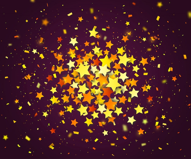 Colorful confetti of stars and paper particles scattering randomly. dark background with explosion golden stars. holiday design template can be used for greeting card, carnival, celebration or festive