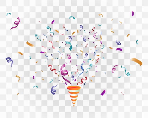 Colorful confetti on a white background. festive cheerful  background. cone with confetti.