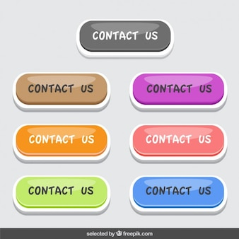 Colorful contact us buttons set