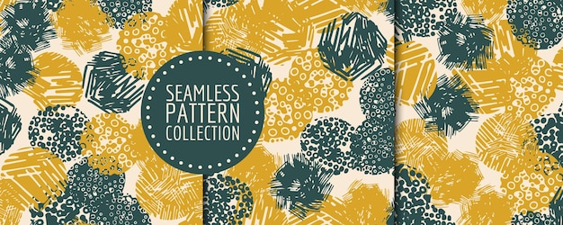 Colorful contemporary seamless pattern with abstract shapes