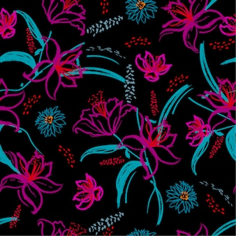 Colorful contrast blooming lily flower seamless pattern