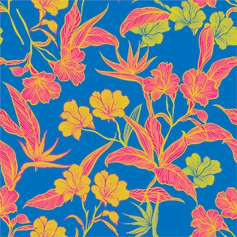 Colorful contrast floral seamless pattern