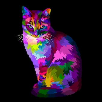 Colorful cool cat sitting and looking