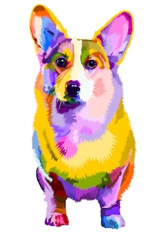 Colorful corgi dog on pop art style. illustration.