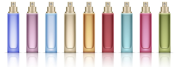 Colorful cosmetic bottles set