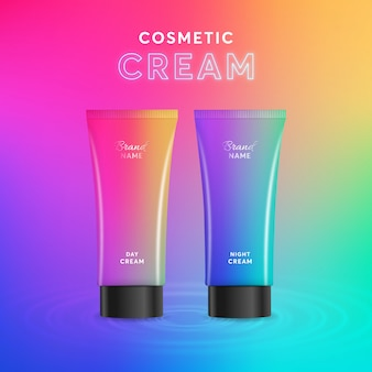 Colorful cosmetic cream