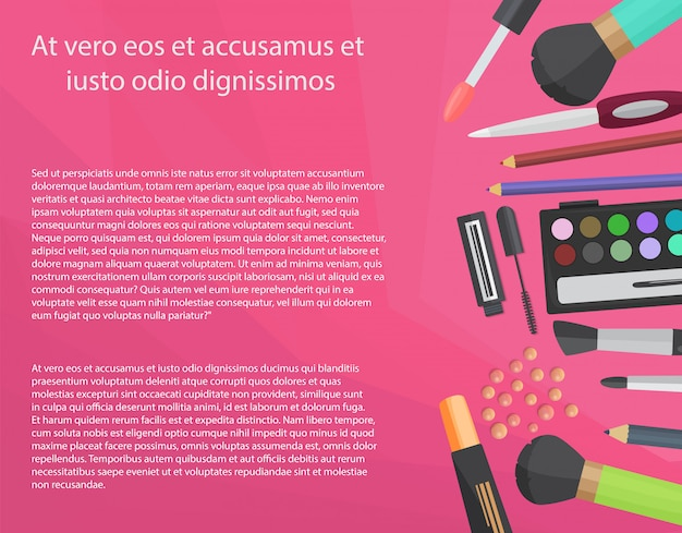 Colorful cosmetics concept with text Premium Vector