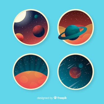 Colorful cosmic stickers collection