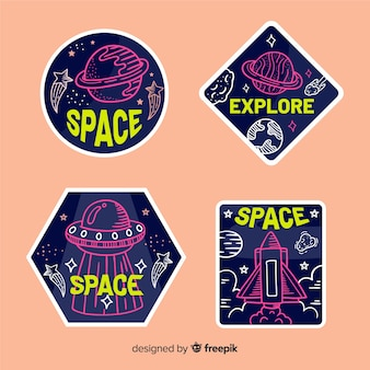 Colorful cosmic stickers pack