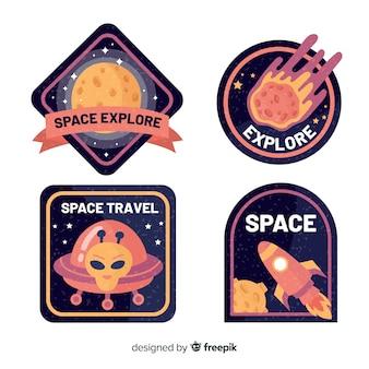 Набор красочных космических стикеров