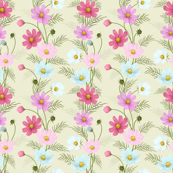 Colorful cosmos flowers seamless pattern.