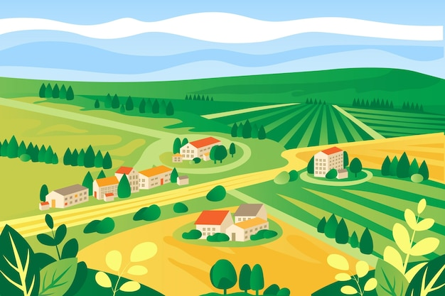 Colorful countryside landscape illustrated