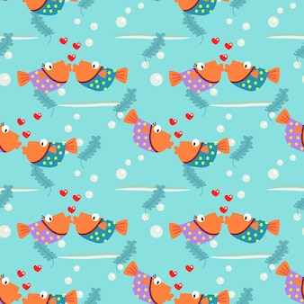 Colorful couple fish is kissing seamless pattern.
