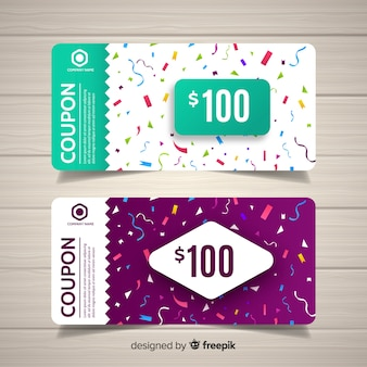 Colorful coupon template with flat design