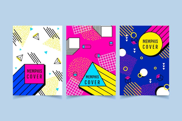 Colorful cover set memphis design
