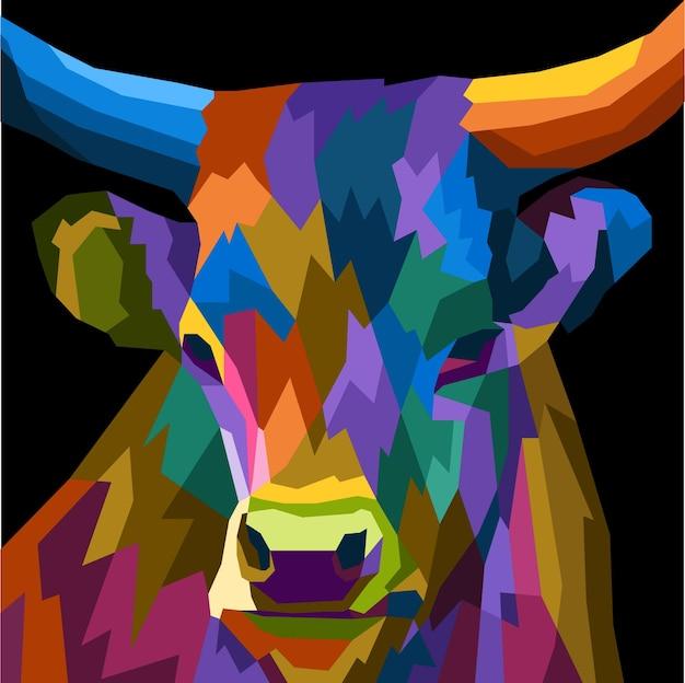 カラフルな牛の頭のポップアートの肖像画プレミアムベクトルポスター