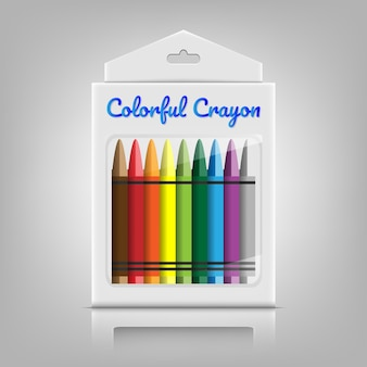 Colorful crayon with product package box