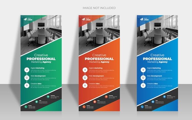 Colorful creative roll up banner template