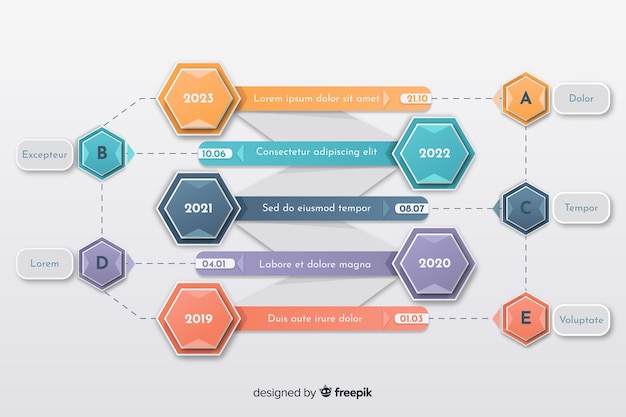 Colorful creative timeline infographic template