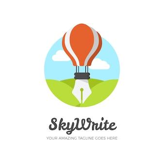 Colorful creative writing logo template
