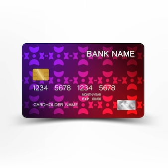 Colorful credit card vintage style.