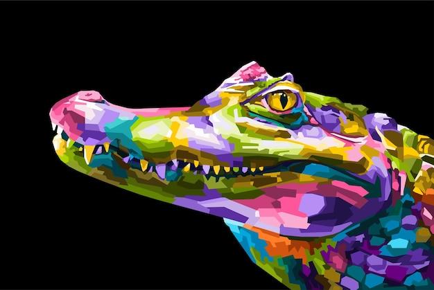 Красочный крокодил поп-арт портрет стиль изолированные украшения Premium векторы