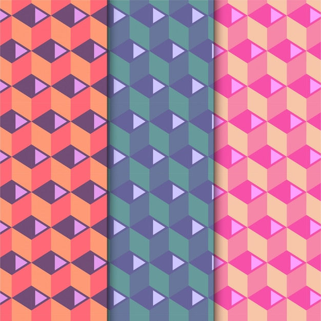 Colorful cube pattern set