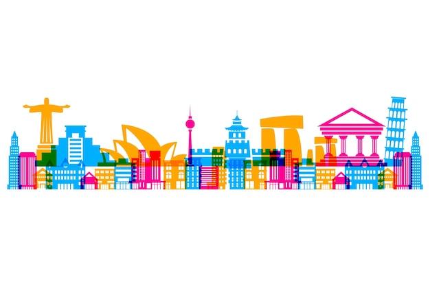 Skyline di punti di riferimento di cultura colorata