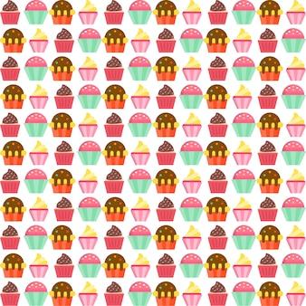 カラフルなカップケーキのパターンデザイン
