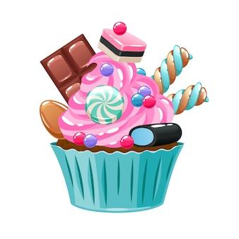 お菓子やキャンディーで飾られたカラフルなカップケーキ。