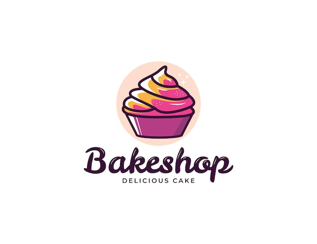 Colorful cupcake illustration logo for bakery and cake shop
