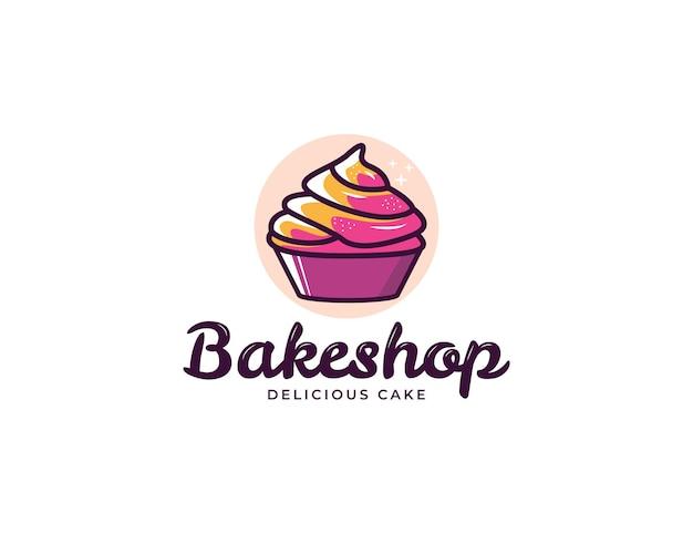 베이커리와 케이크 가게를 위한 다채로운 컵케이크 일러스트레이션 로고