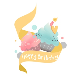 Colorful cupcake vector with a candle