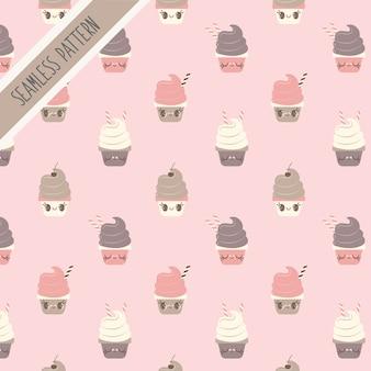 カラフルなカップケーキのシームレスパターン
