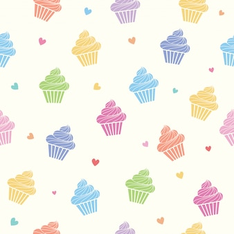 Colorful cupcakes seamless pattern
