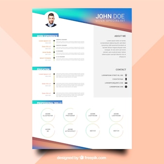 Colorful  curriculum template with flat design