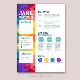 Colorful curriculum template with geometric style
