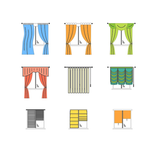 Colorful curtains types thin line set pixel perfect art.