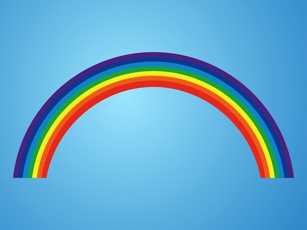 Colorful curved rainbow meteorological vector