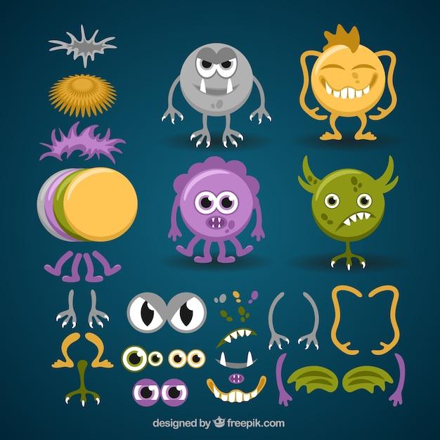 Colorful monster personalizzabile in stile divertente