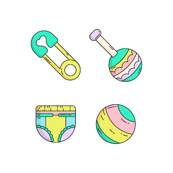 Colorful cute baby icon set in monoline style