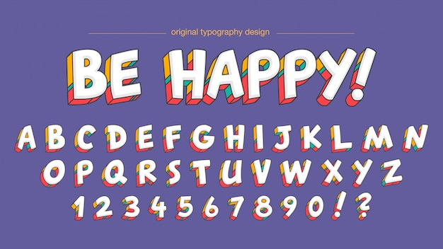 Colorful cute bold typography design