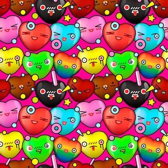Красочный милый мультфильм бесшовные модели векторное изображение