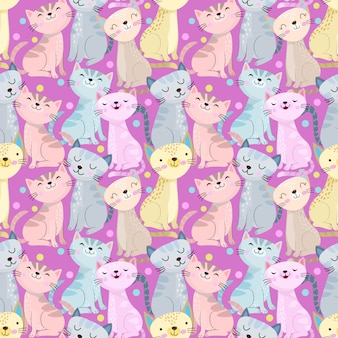 Colorful cute cat seamless pattern on purple background.