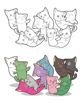 Colorful cute cats cartoon coloring page for kids
